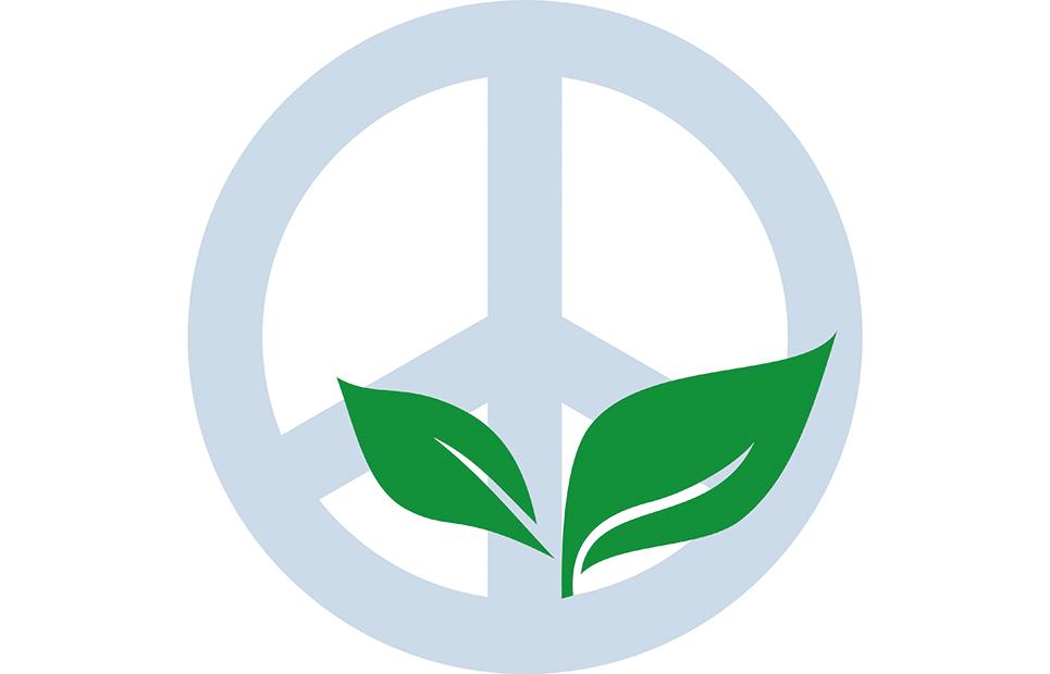 Peace-Zeichen mit grünen Blättern